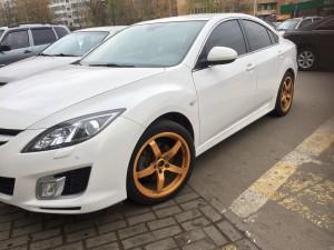 Порошковая окраска дисков Mazda в золото под супер матовый лак